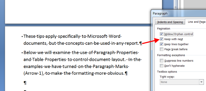 Keep Paragraphs Together in a Report - After