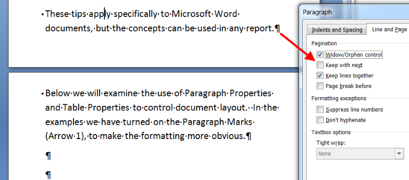 Keep Paragraphs Together in a Report - Before
