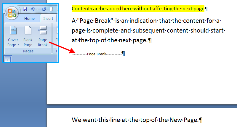 Use Page Breaks in Reporting Templates instead of multiple Carriage Returns