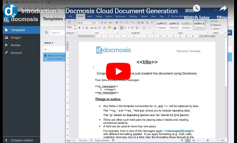 Introduction to Docmosis Cloud Document Generation